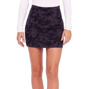 Free People Black Tonal Camouflage Modern Skirt